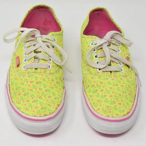 Vans Disty Floral Neon Yellow Shoe Women 8 Men 6.5